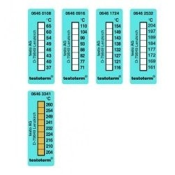 Temperature recording strips, 51 x 18 mm range +116° - +154°C,pack of 10 stripes